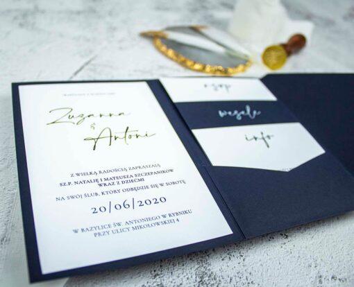 Nowoczesne zaproszenie ślubne w formie folderka