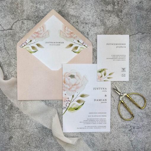 Zaproszenie ślubne z motywem pastelowej róży