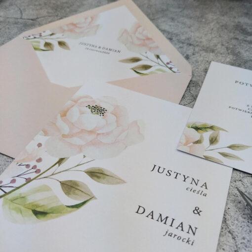 Zaproszenie ślubne - pastelowa róża