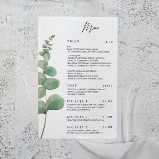 proste menu ślubne z motywem eukaliptusa