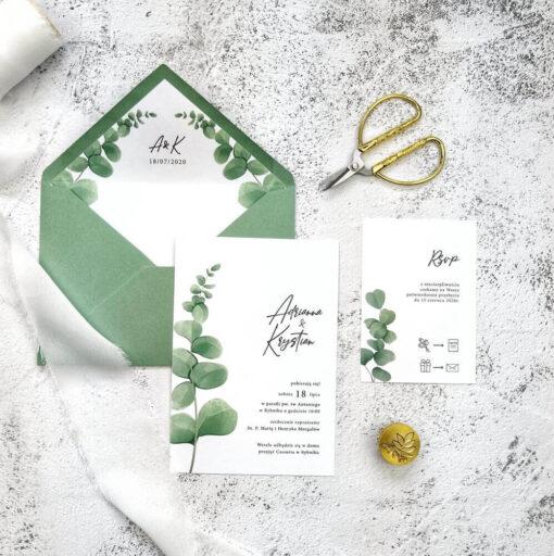 Tanie zaproszenie ślubne z motywem eukaliptusa